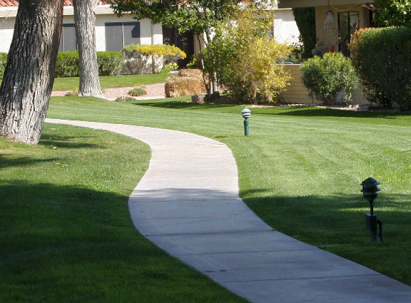 Landscaping Services Grass Sidewalk Lights